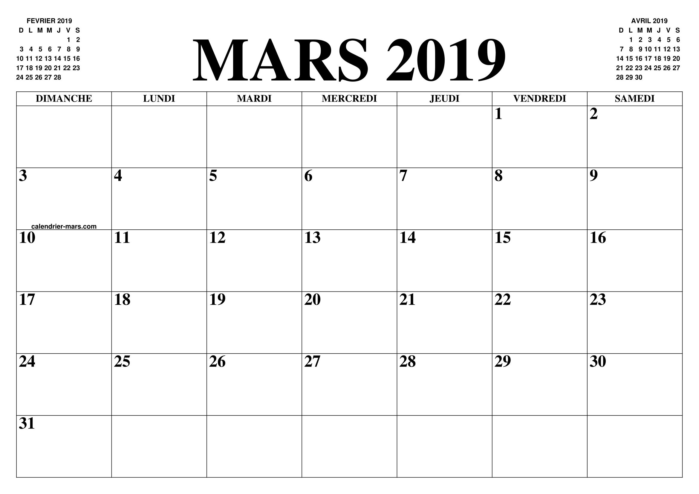 Calendrier Mars 2019 2020 Le Calendrier Du Mois De Mars