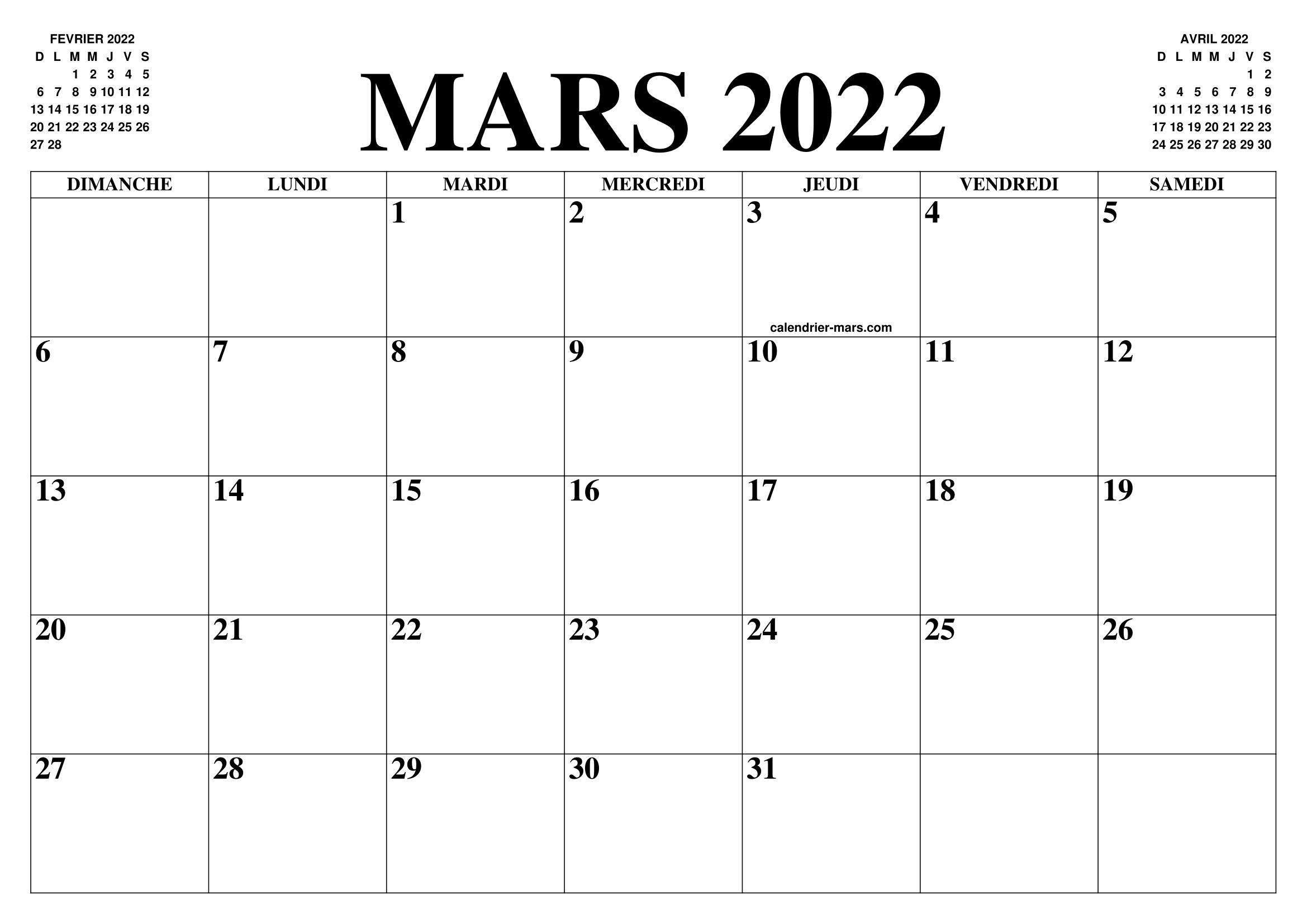Calendrier Mois De Mars 2022 CALENDRIER MARS 2022 : LE CALENDRIER DU MOIS DE MARS GRATUIT A